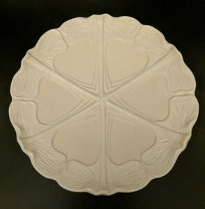 Gorgeous Art Nouveau Italian White Majolica Plate Lotus Leaves Stylized Pattern
