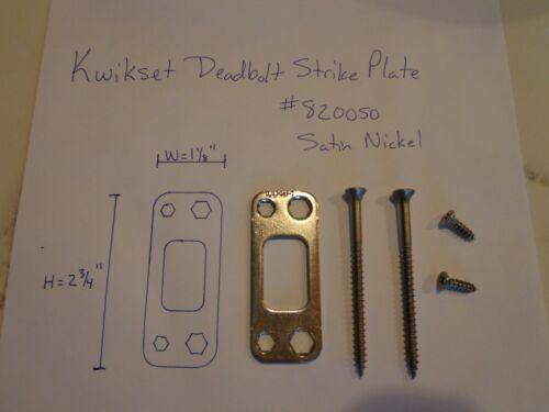 """NICKEL PLATE 1-1//8/"""" X 2-3//4/"""" KWIKSET DEADBOLT STRIKE /""""REINFORCER/"""" 3/"""" SCREWS"""