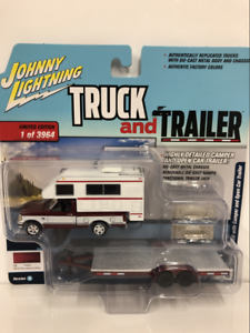1993 Ford Ford Ford F-150 with Camper and Open Car Trailer 1 64 Scale JLBT008A f44cca