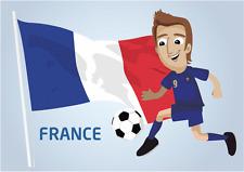 "France Flag Football Player Soccer Car Bumper Sticker Decal 5"" x 4"""