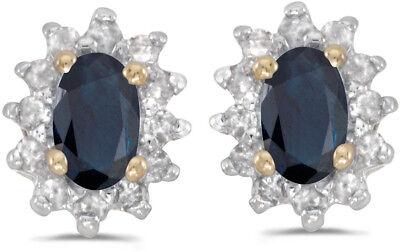 14k Gelbgold Ovaler Saphir Und Diamant Ohrringe (cm-e6410x-09)