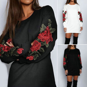 Femmes-Broderie-Mini-Robe-Pull-over-Manches-Longues-Haut-Long-Pull-Decontracte