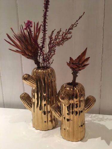 Homewear decoration Gift Flowers Plants Gold Cactus statement ceramic Vase
