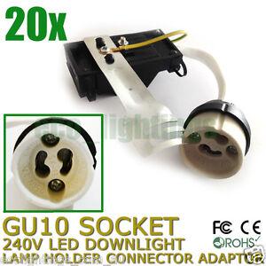 20-X-GU10-240V-LED-Downlight-Lamp-Holder-Socket-Connector-Adaptor-Fixture-Base
