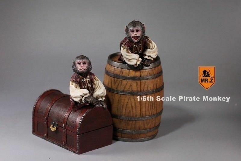 MR.Z 1 6 Pirate Monkey Sets Resin Animal Pet Model W Barrels Treasure Box