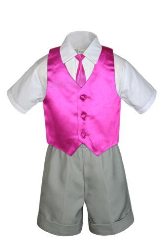 Baby Boy Toddler Vest Shorts Silver Gray Suit Extra Vest Necktie 7pc Set S-4T