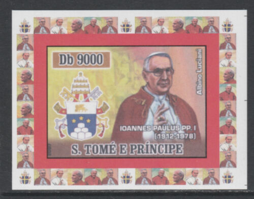 St Thomas & Prince 5759 2007 POPE JOHN PAUL I imperf deluxe sheet um