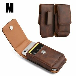 buy popular 3d993 684f0 Details about for iPhone 7/8 - VERTICAL BROWN Leather Pouch Holder Belt  Clip Loop Holster Case