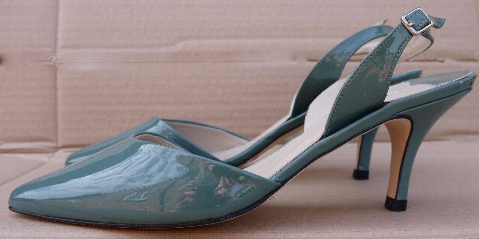 Boden patent Leder kitten heel slingback Sandale Grau green UK 5.5 BNIB
