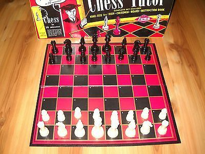 Chess Tutor & Board 94 Page Instruction Book Vintage 50's E.S. Lowe Game