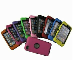 NEW Black Hard Defend Case w/ Color Silicone Skin 4 iPod Touch 4th Generation