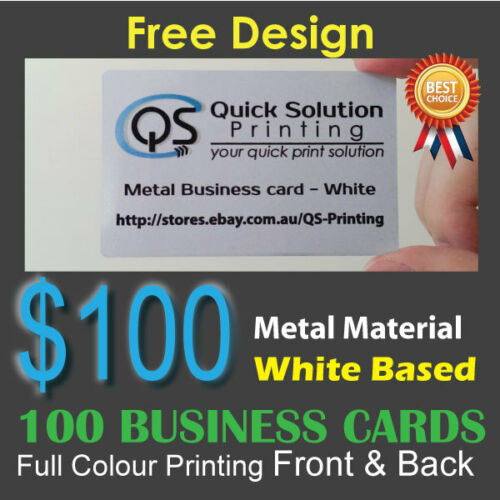 100 Metal Material Business Cards Full Colour Printing Front&Back White Based