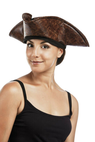 Chapeau Pirate Tricorne imitation cuir pirate des Caraïbes adulte marron