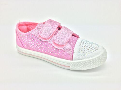 Girls Matilda Glitter Touch Fastening Strap Comfort Summer Canvas Shoes Pink Can