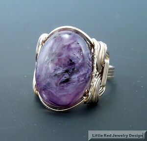 14 k Gold Filled Russian Charoite Cabochon Wire Wrapped Ring
