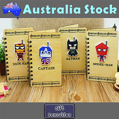 Wooden Cover A5 Super Hero Batman Captain America Superman Spiderman Note Book