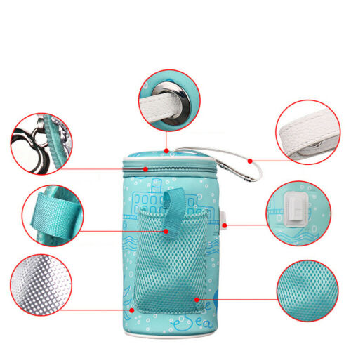USB Baby Feeding Bottle Warmer Heater Insulated Bag Travel Milk Thermostat UK