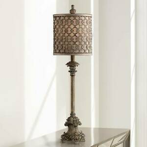 French-Buffet-Table-Lamp-Beige-Scroll-Metal-Lattice-for-Living-Room-Bedroom