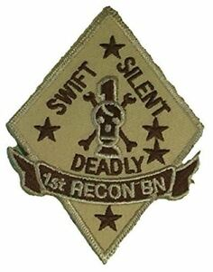 USMC-FIRST-I-1ST-RECON-BN-BATTALION-PATCH-SWIFT-SILENT-DEADLY-MARINE-CORPS-TAN