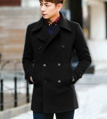 Mens Wool Blend Slim Fit Double Breasted Parka Jacket Trench Coat Outwear Casual