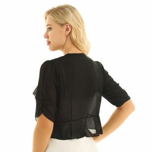 Womens Half Sleeve Shrug Bolero Chiffon Sheer Lace Cropped Top Cardigan Jacket