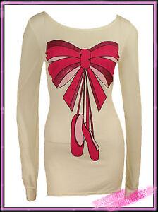Ladies-Chiffon-Sleeve-Ballet-Print-Top-Cream-Womens-Summer-Jumper-UK-8-10-12-14