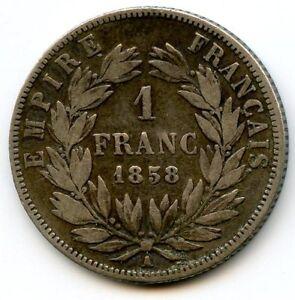 France Napoleon III 1 Franc 1858 Paris F.214 /11