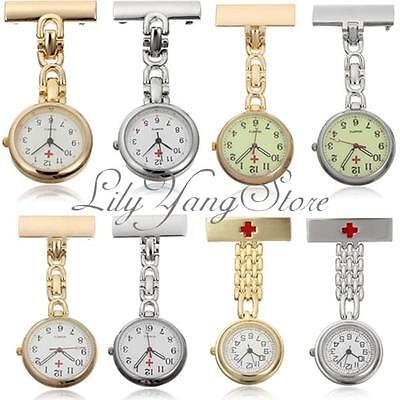 Unisex Steel Medical Doctor Nurse Cross Brooch Silver Quartz Pocket Watch Chain