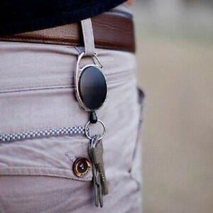 Metal-Retractable-Key-Chain-Recoil-Ring-Pull-Belt-Clip-Key-Fob-Card-Badge-Holder