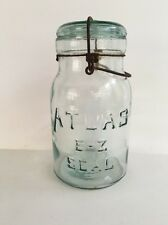 Vintage Atlas E-Z Seal Aqua Blue QT Canning Jar w/ Glass Lid & Wire Bail - Lot 9