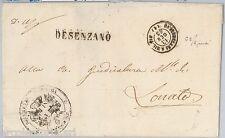 LOMBARDO VENETO -  BUSTA in FRANCHIGIA annullo AMBULANTE Desenzano - Milano 1863