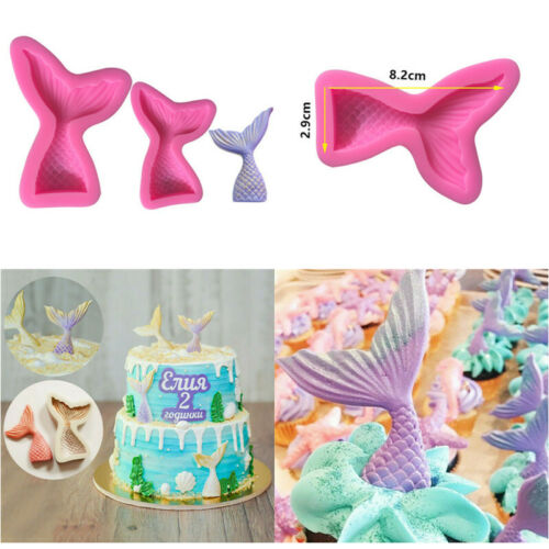 3D Mermaid Tail Mold Fondant Mould Silicone DIY Chocolate Cake Mould Tool Decor