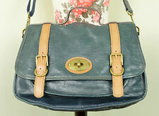 Classic FOSSIL Blue Tan Leather Maddox Saddle Satchel Shoulder Bag Messenger A4