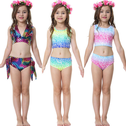 Kids Girl Swimwear Swimmable Mermaid Tail Bikini Sets Swimming Costume Beachwear