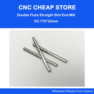 10pc 3.175mm Double Two Flute Straight Slot CNC Router Bits Wood MDF Milling 1//8