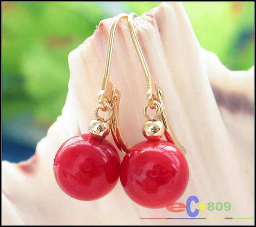 S615 9 mm corail rouge perles Dangle Boucle d/'oreille