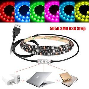 50500USB-Lumineux-RGB-Couleur-Changeante-TV-LED-Light-Strip-Kit-Fond-d-039-eclairage