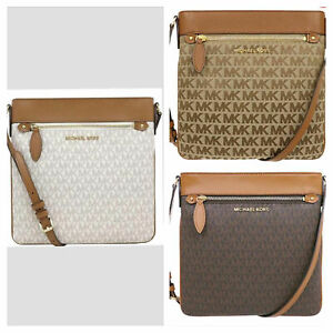New-Michael-Kors-CONNIE-Large-North-South-Signature-Top-Zip-Crossbody-Bag