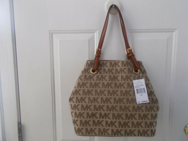 28b2ab30db12 $248 Michael Kors Jet Set Item Grab Bag Jacquard MK Signature Tote Luggage  NWT