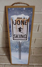 GONE SKIING Skiier Lodge Ski Log Cabin Home Decor Snowing Snow Street Sign NEW