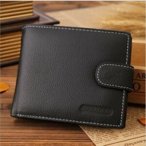 Luxury-High-Quality-Mens-Black-Leather-Bifold-Wallet-Credit-Card-Holder-Gift-NEW