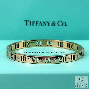 7k New 18k Gold Diamond Tiffany Amp Co Atlas Pierced Hinged