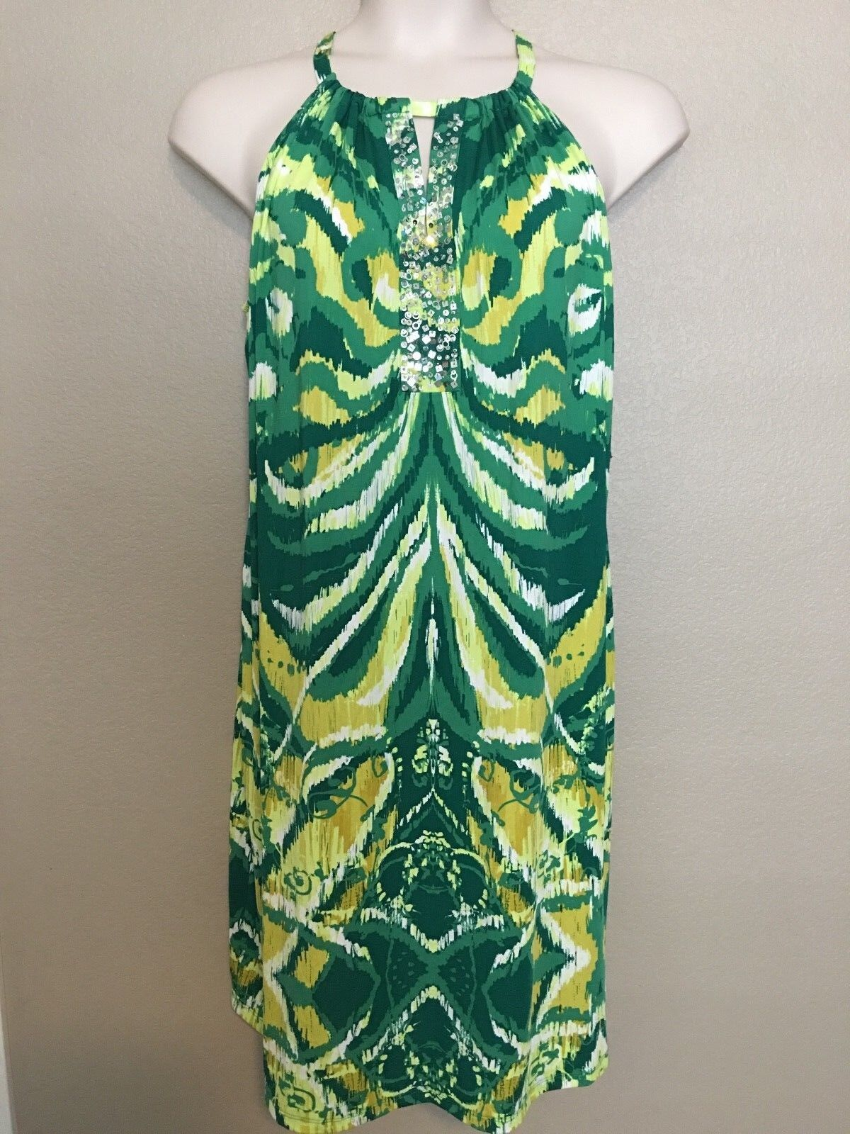 90 INC Women\'s Plus Size 2X Green Yellow Printed Sequin Dress NEW ...
