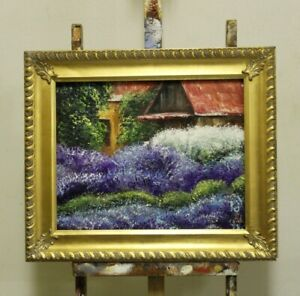 Lavender-Flowers-Plant-Picture-Painting-Oil-with-Frame-G95970
