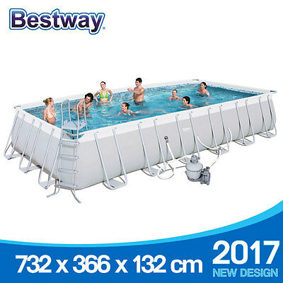 Bestway Above Ground Swimming Pool 732x366x132cm 56477 Sand Filter Pump 24ft NEW