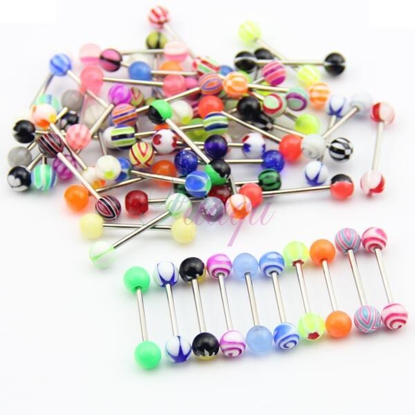 Wholesale 60 Different Tongue Nipple Ring Bar Body Jewelry Assorted  MA