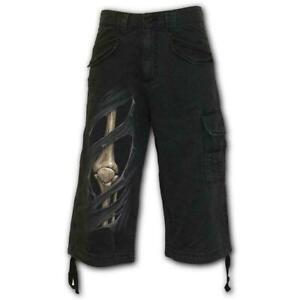 Spiral-Direct-Bone-Rips-Mens-Vintage-3-4-Cargo-Shorts-Metal-Gothic-Tattoo-Skulls