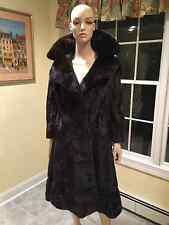 Natural Ranch Black Mink Leather 3/4 Princess Swing Real Fur Coat Sz 4 6 Small S