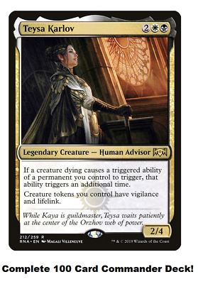 Mtg Commander Edh Deck Teysa Karlov 100 Cards Aristocrat Custom Deck B W Ebay If you enjoyed it and the video make sure to give this video a thumbs up, and subscribe if you haven't already! mtg commander edh deck teysa karlov 100 cards aristocrat custom deck b w ebay