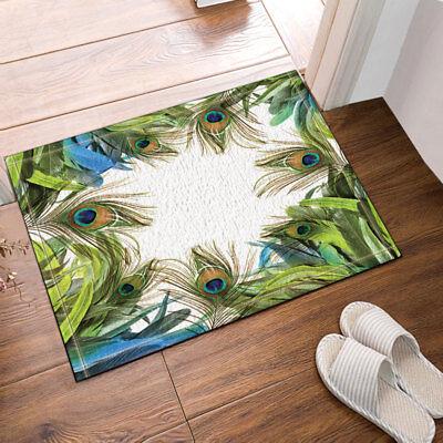 Door Mat Bathroom Rug Bedtoom Carpet Bath Mats Rug Non-Slip Peacock feather NEW